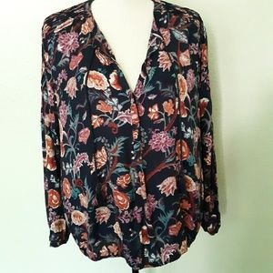 Lucky Floral Peasant Blouse with tassels